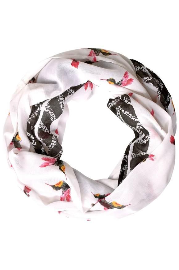 Écharpe avec imprimé oiseaux - White