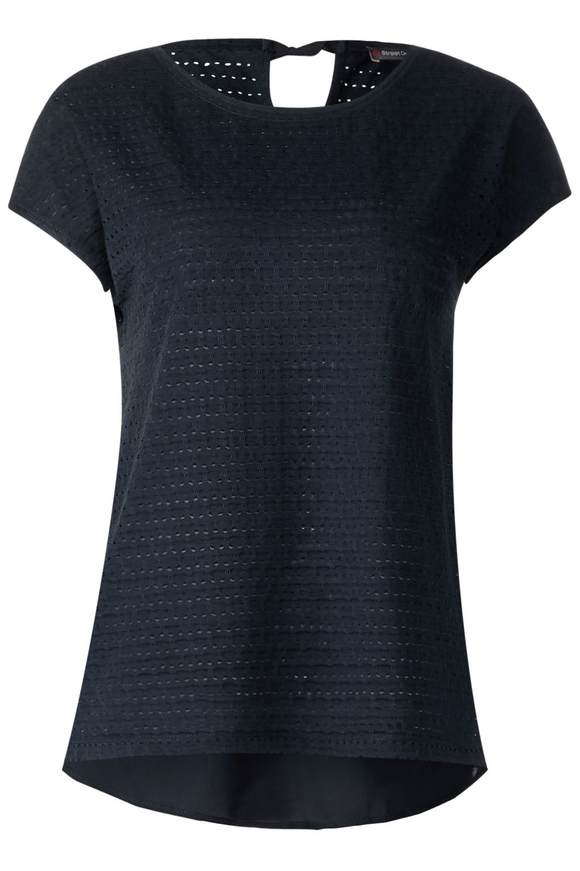 Shirt in Lochstrick-Optik - deep blue