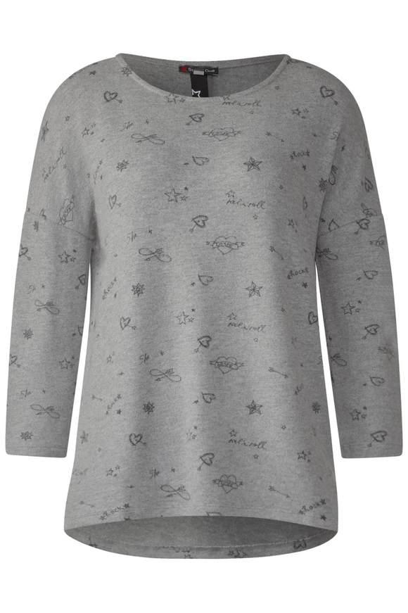 Flauschiges Print-Shirt - moon grey melange