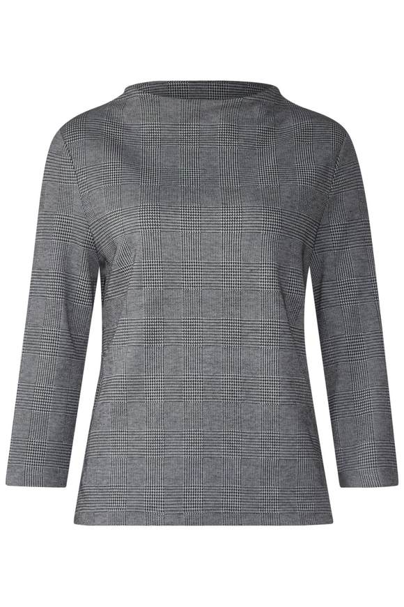 STREET ONE, Dames Sweatshirt, antraciet / wit