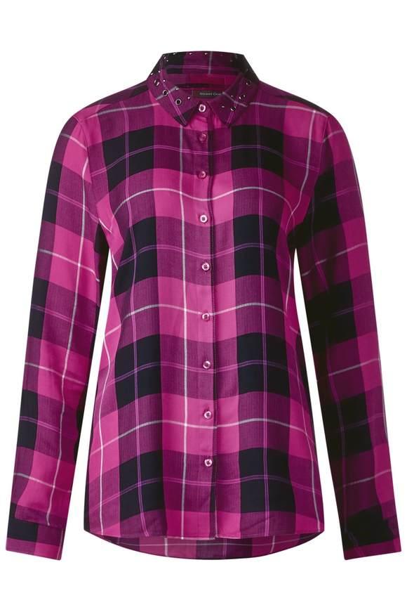 Karo Bluse im Hemd-Style - dark electric pink