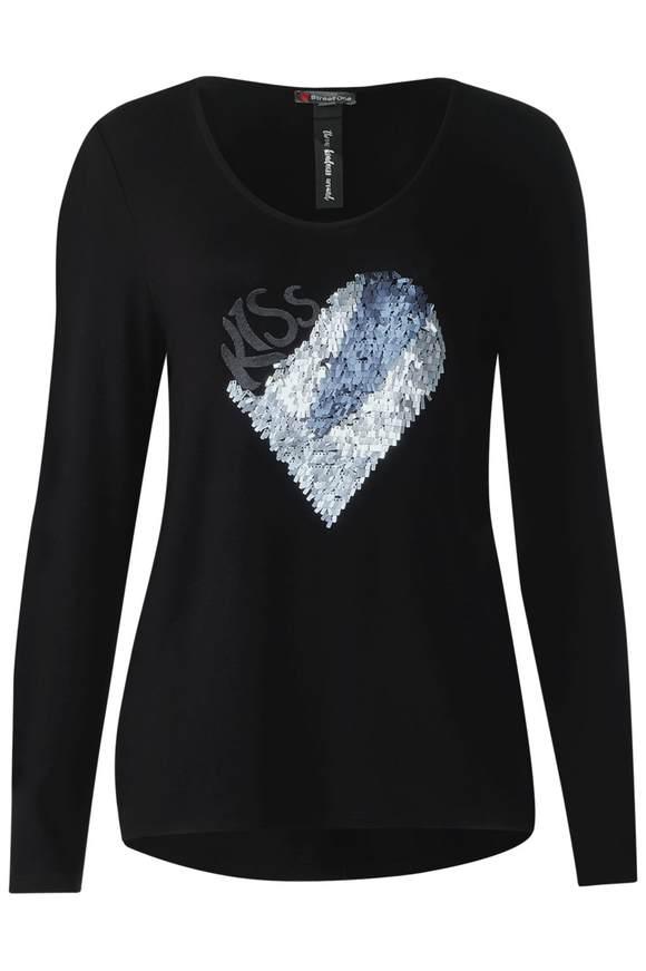 Shirt mit Pailletten - Black