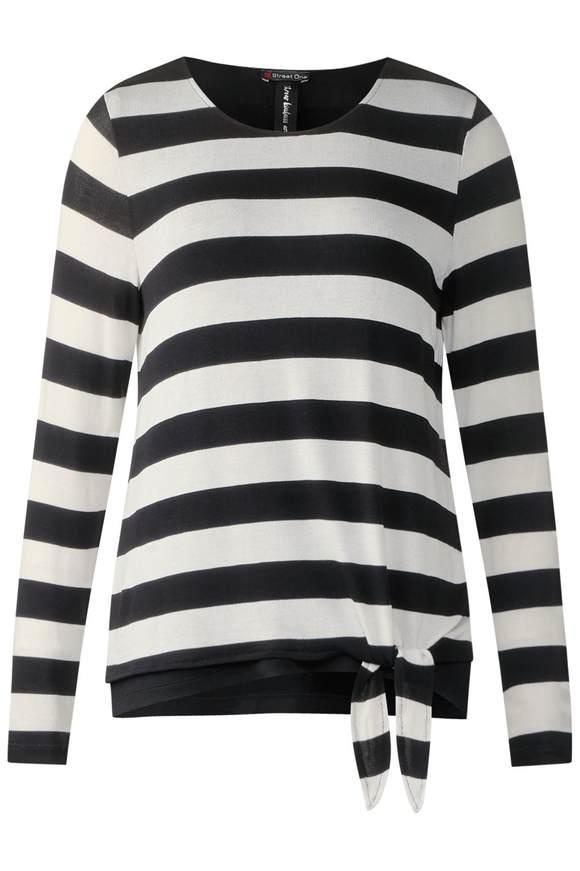 Lässiges 2in1 Streifenshirt - Black