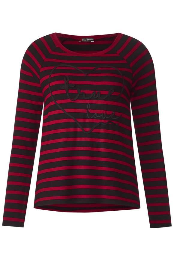 Gestreept shirt met print - pure red