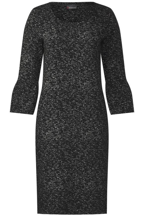 Grafikprint Kleid mit Volant - Black