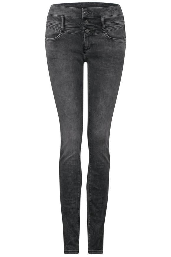 Grijze slim jeans York - Roze heavy random bleach