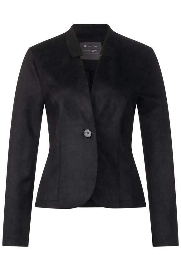 Femininer Lederlook Blazer - Black   Bekleidung > Blazer   Black   STREET ONE