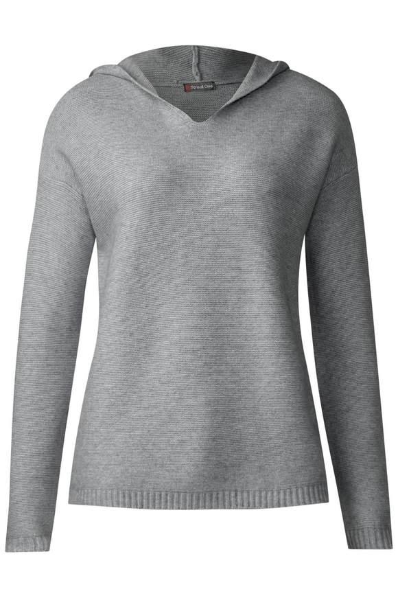Kapuzenpulli Madita - moon grey melange | Bekleidung > Pullover > Kapuzenpullover | Moon grey melange | Denim | STREET ONE