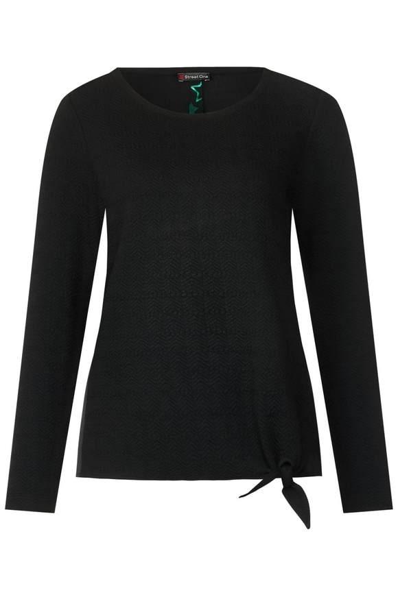 Struktur Shirt mit Knoten - Black