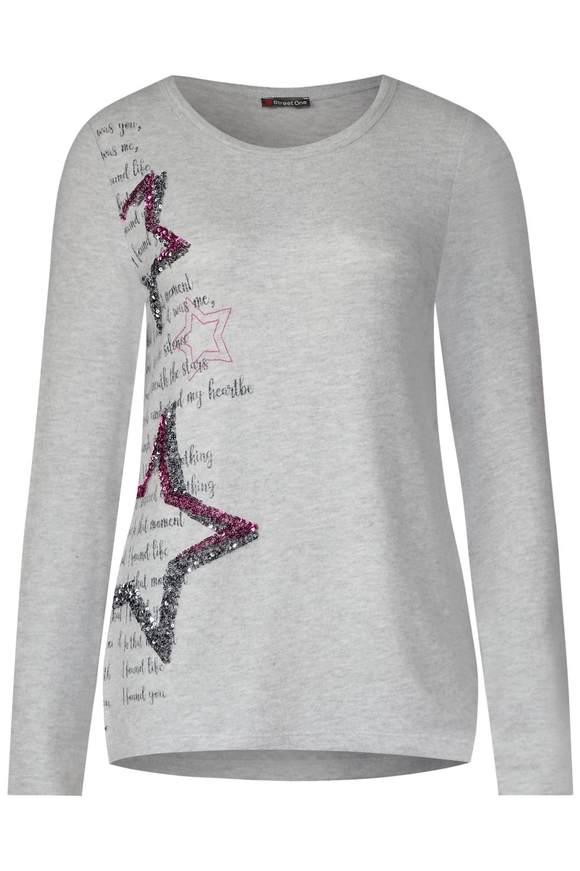 Shirt mit Pailletten - moon grey melange