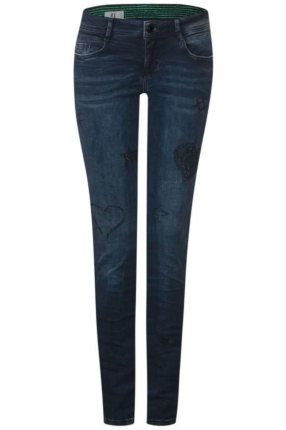Versierde jeans Crissi  - Roze blue fancy wash