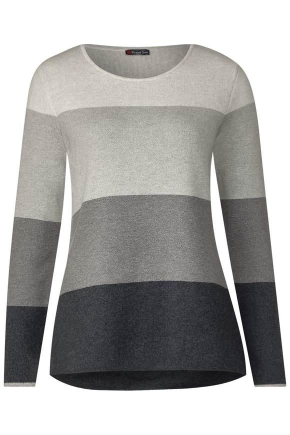 Pullover mit Blockstreifen - moon grey melange