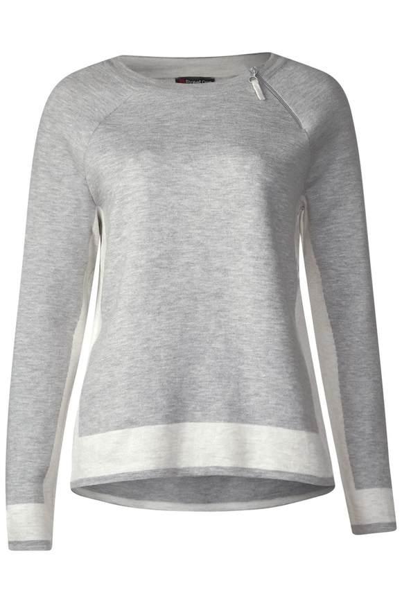 Pullover mit Zipper-Detail - moon grey melange
