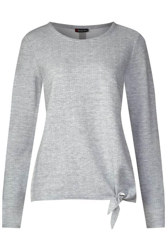 Struktur Shirt mit Knoten - moon grey melange