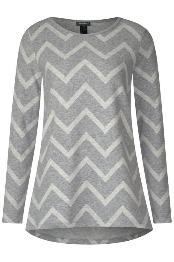 Langes Shirt mit Print - moon grey melange