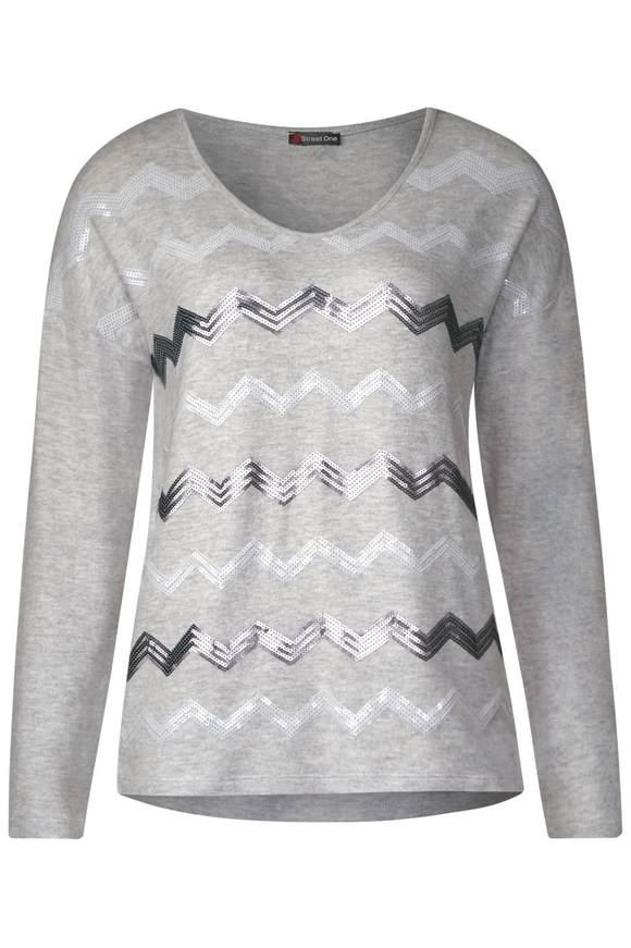 Weiches Pailletten Shirt - moon grey melange