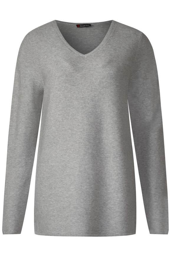 Basic trui van katoen  - moon grey melange