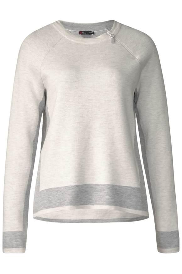 Pullover mit Zipper-Detail - shell white melange