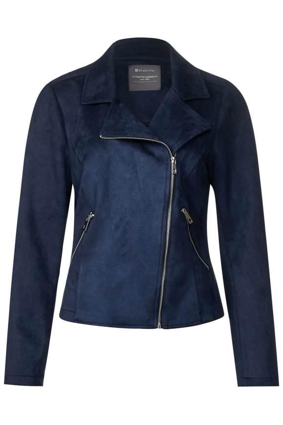 Velour Biker Jacke - deep blue | Bekleidung > Jacken > Bikerjacken | Deep blue | STREET ONE