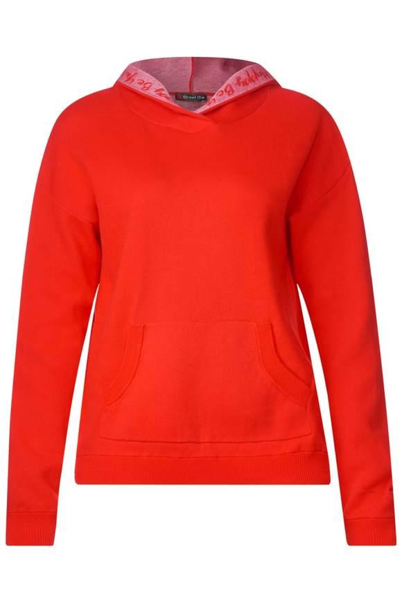 Hoody-trui met woordprint  - hot orange