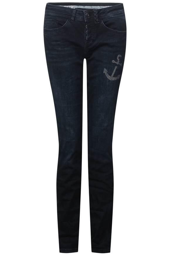 Jeans Jane met strasstenen - dark blue acid wash