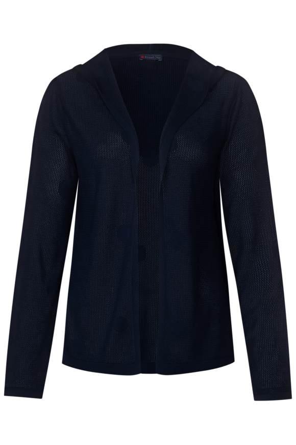 Gebreid vest met stippen - deep blue