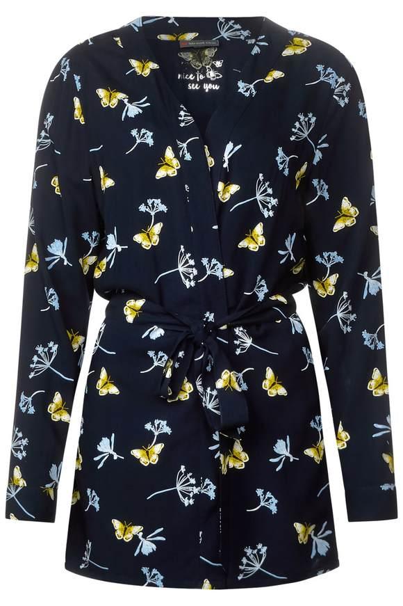 Kimono mit Frühlingsprint - deep blue | Bekleidung > Homewear > Kimonos | Deep blue | Viskose | STREET ONE