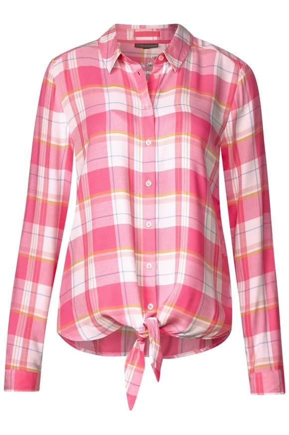 Karo Bluse mit Knotendetail - blossom pink | Bekleidung > Blusen > Karoblusen | Blossom pink | STREET ONE