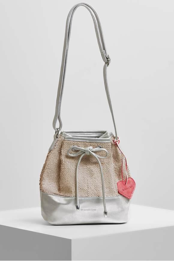 Beuteltasche mit Pailletten - silver | Taschen > Handtaschen > Beuteltaschen | Silver | STREET ONE