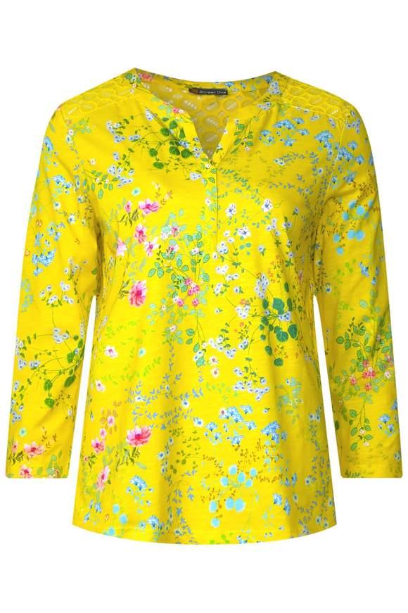 Shirt met opdruk en kant - sunshine yellow