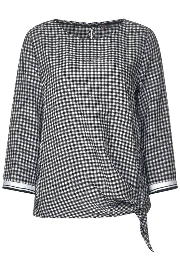 Karo Bluse mit Knotendetail - Black | Bekleidung > Blusen > Karoblusen | Black | STREET ONE