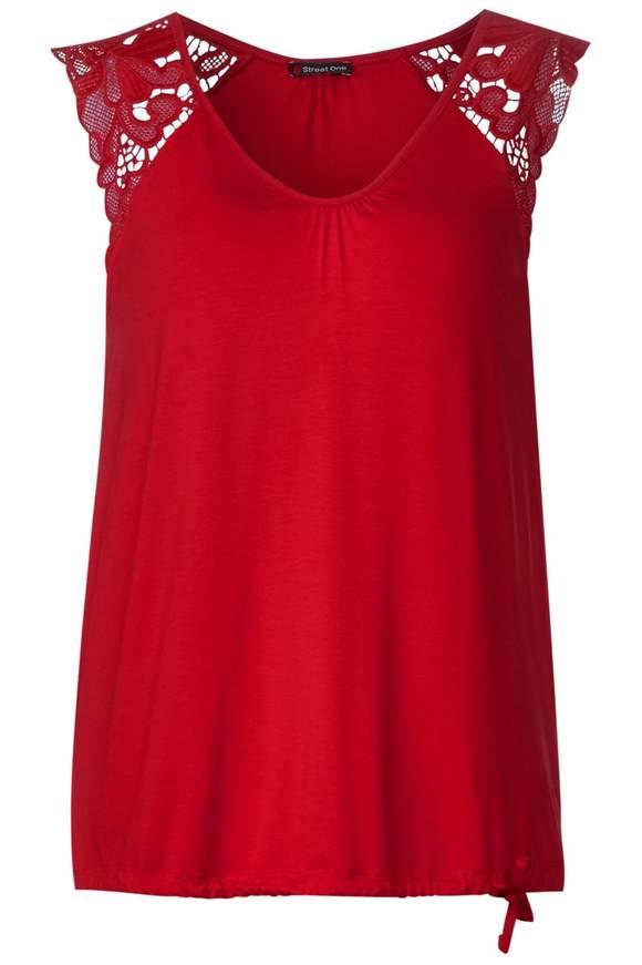 Feminines Spitzen Shirt - vivid red   Bekleidung > Shirts > Spitzenshirts   Vivid red   STREET ONE
