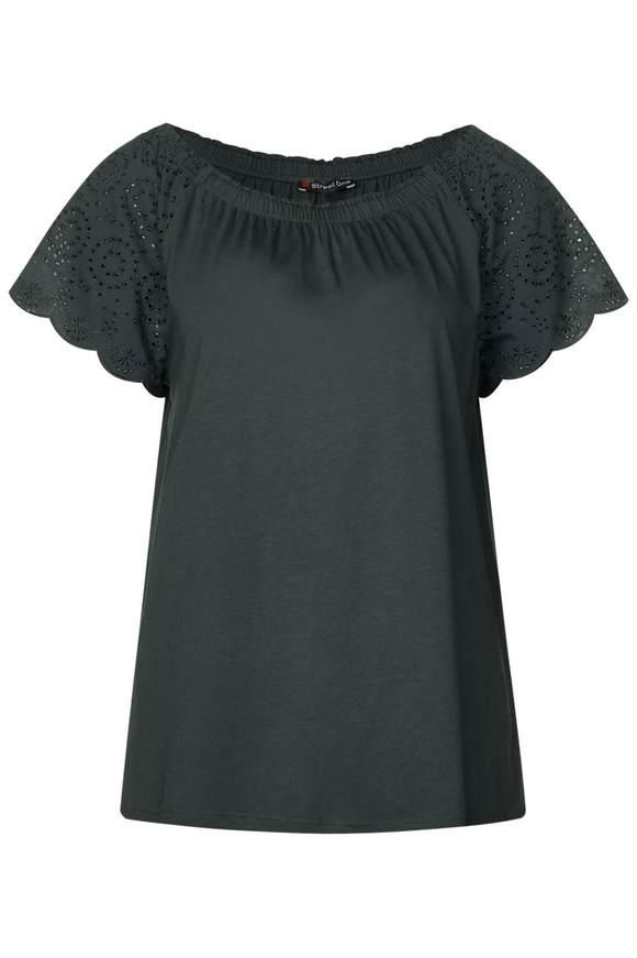 Carmenshirt mit Spitze | Bekleidung > Shirts > Carmenshirts & Wasserfallshirts | Grün | Modal | STREET ONE
