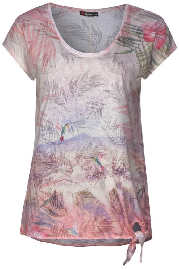 Chemise à imprimé photo avec n?ud - true rose