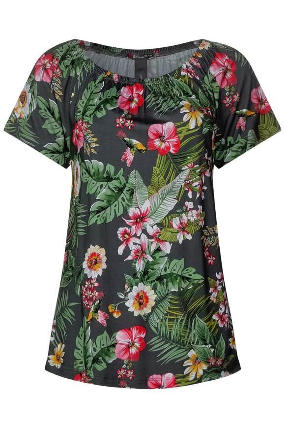 Carmen Shirt mit Blumenprint - chilled green | Bekleidung > Shirts | Chilled green | Viskose | STREET ONE