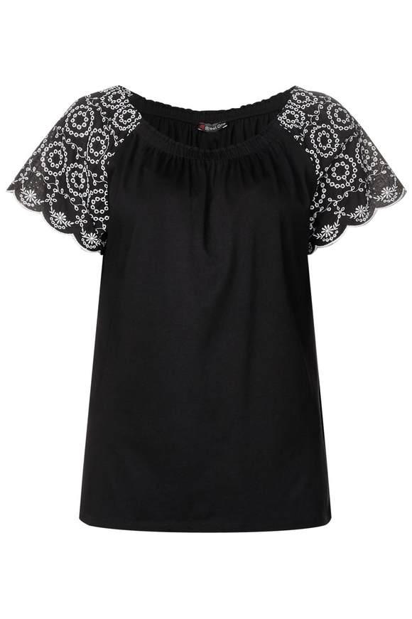 Carmenshirt mit Spitze - Black | Bekleidung > Shirts > Carmenshirts & Wasserfallshirts | Black | Modal | STREET ONE