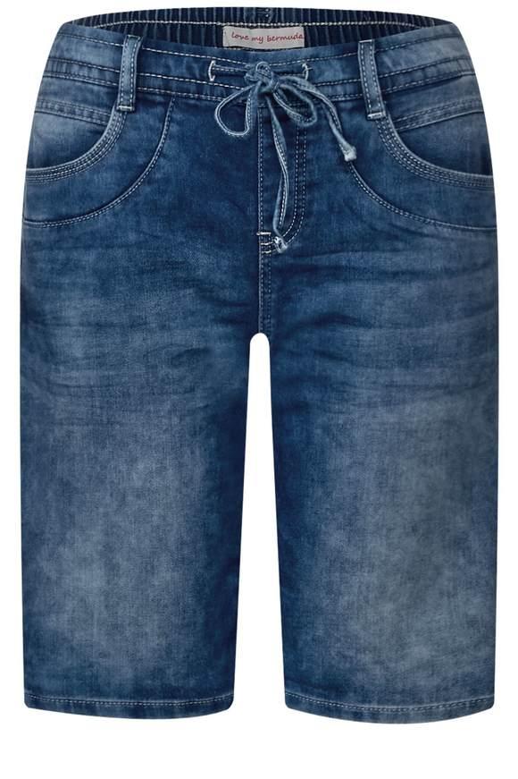 Lässige Bermuda Bonny - knit indigo random bleached | Bekleidung > Jeans > Shorts & Bermudas | Knit indigo random bleached | STREET ONE