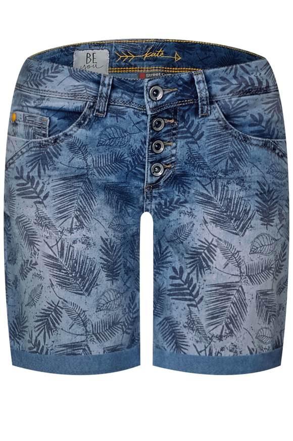 Loose Fit Shorts Kate - palm leaf denim print | Bekleidung > Hosen > Shorts & Bermudas | Palm leaf denim print | Jeans | STREET ONE