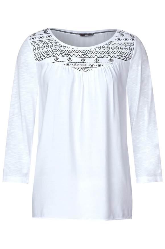 Tunika Shirt mit Stickerei - White | Bekleidung > Shirts > Tunikashirts | White | Modal | STREET ONE