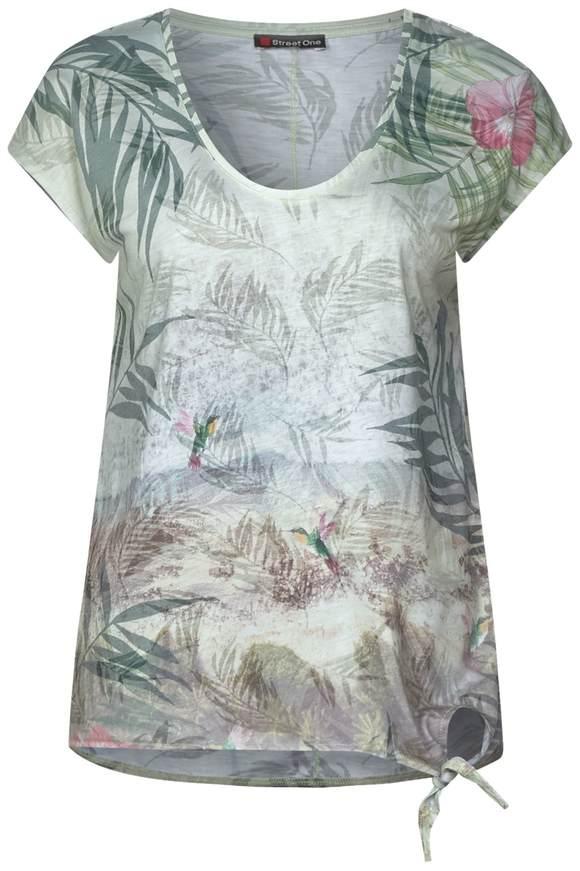 Chemise à imprimé photo avec n?ud - chilled green