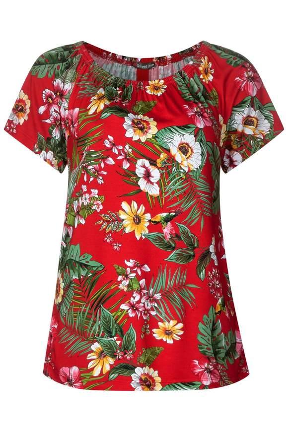 Carmen Shirt mit Blumenprint - vivid red | Bekleidung > Shirts > Carmenshirts & Wasserfallshirts | Vivid red | Viskose | STREET ONE