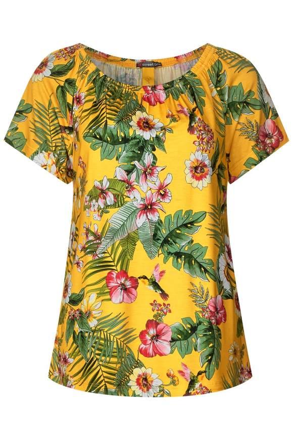 Carmen Shirt mit Blumenprint | Bekleidung > Shirts > Carmenshirts & Wasserfallshirts | Gelb | Viskose | STREET ONE