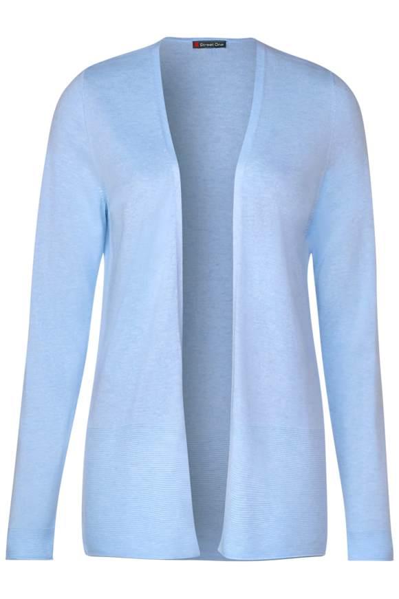 Strickjacke im Basic Style - light blue melange | Bekleidung > Strickjacken & -mäntel | Light blue melange | Viskose | STREET ONE