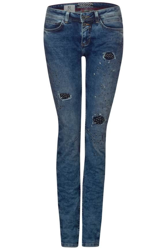 Denim Jane mit Nieten | Bekleidung > Jeans > Destroyed Jeans | Blau | Denim | STREET ONE