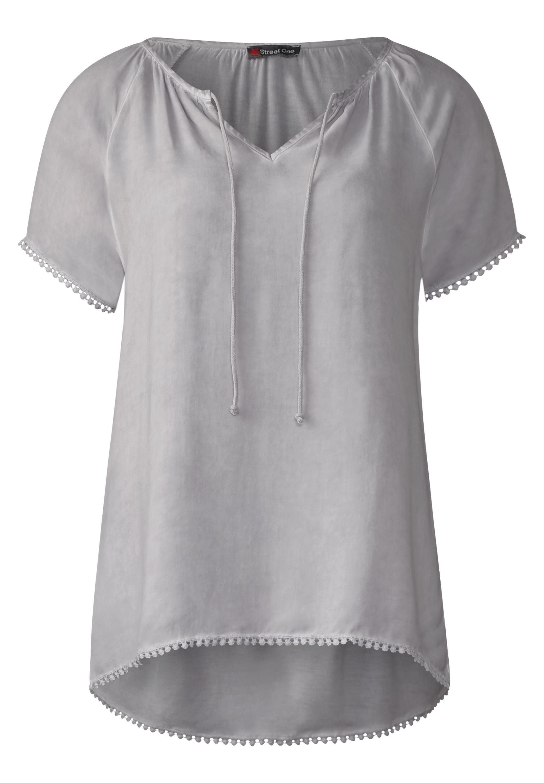 Feminines Shirt mit Borten - lunar grey