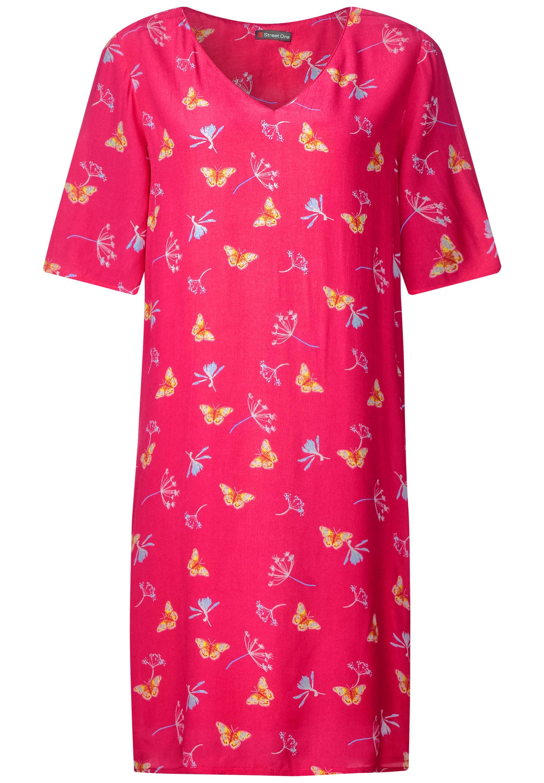 Shirtkleid mit allover Print - dark blossom pink