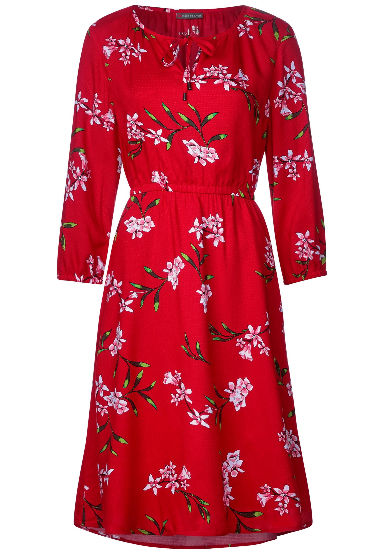 Feminines Blumenprint Kleid - vivid red