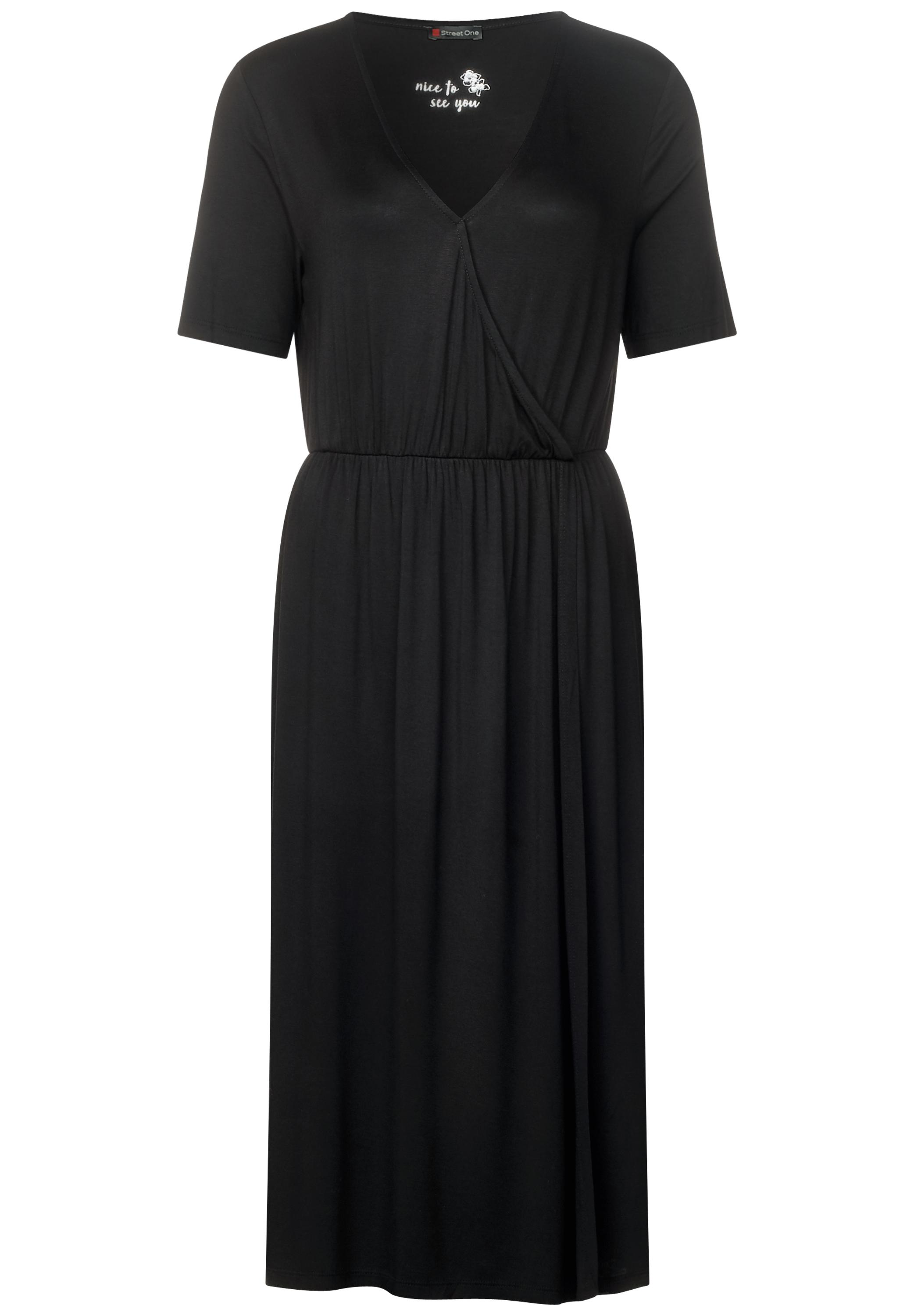 Jersey Wickelkleid - Black