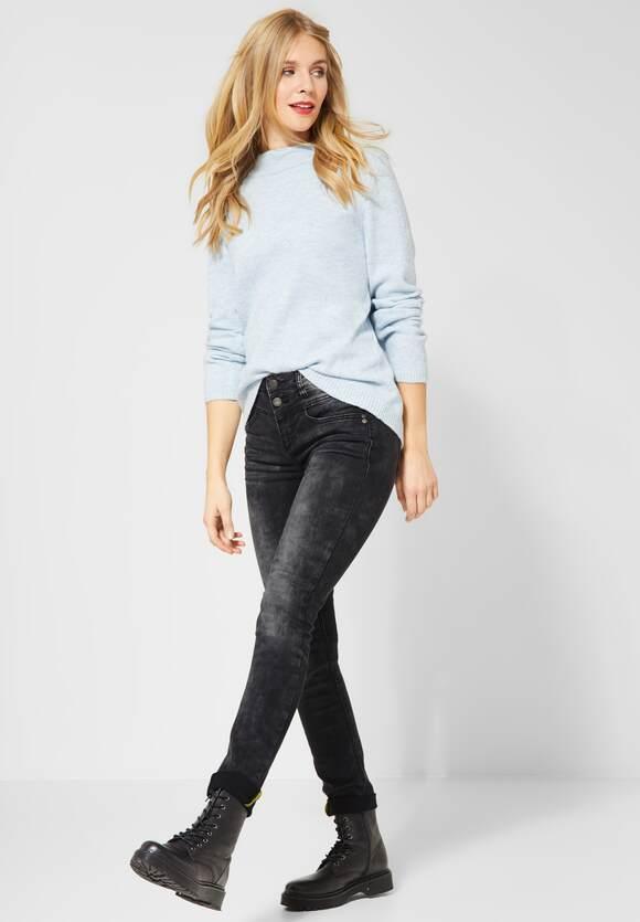 Spijkerbroek met hoge taille authentic black random bleach