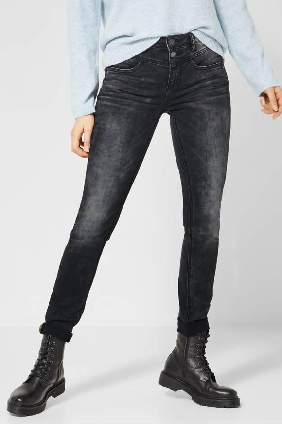 STREET ONE Spijkerbroek met hoge taille authentic black